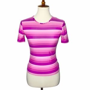 S Casall Stretchy Ombre Hot Pink Striped Top